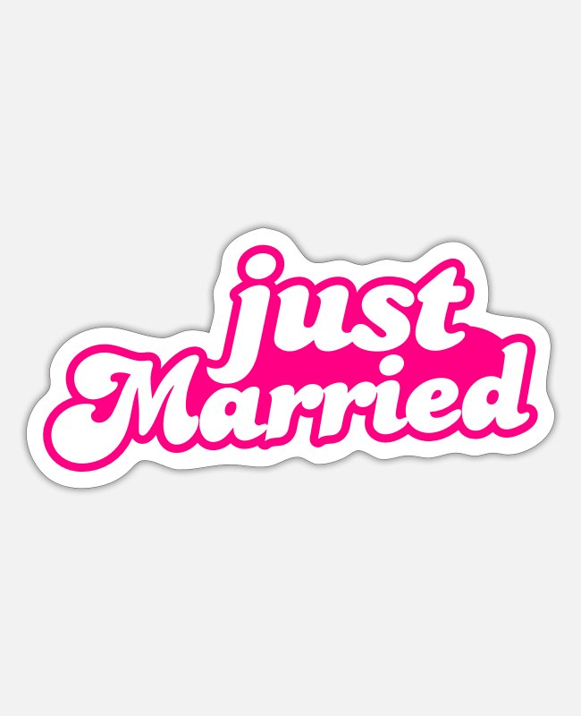 Bridal Stickers - Just Married - Sticker white matte