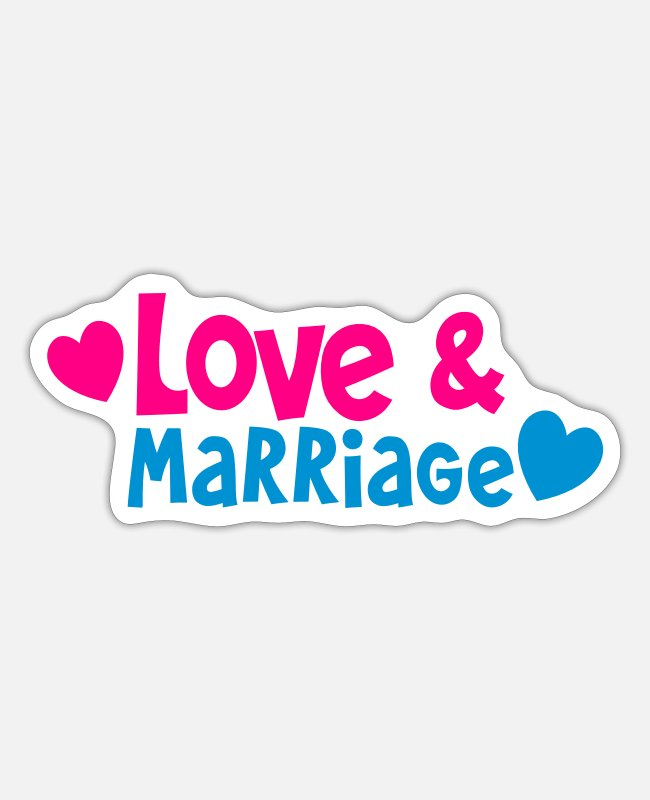 Bridal Stickers - Love and Marriage with cute little hearts - Sticker white matte