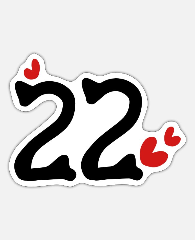 22 Stickers - Number 22 txt red hearts vector line art - Sticker white matte