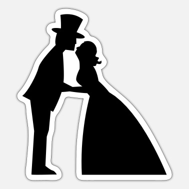 Gown Wedding kiss in a top hat and bridal gown - Sticker
