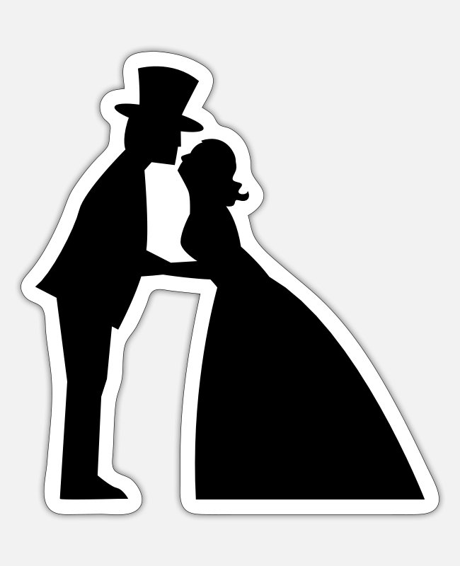 Bridal Stickers - Wedding kiss in a top hat and bridal gown - Sticker white matte