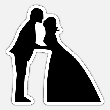 Gown Wedding kiss in bridal gown and suit - Sticker