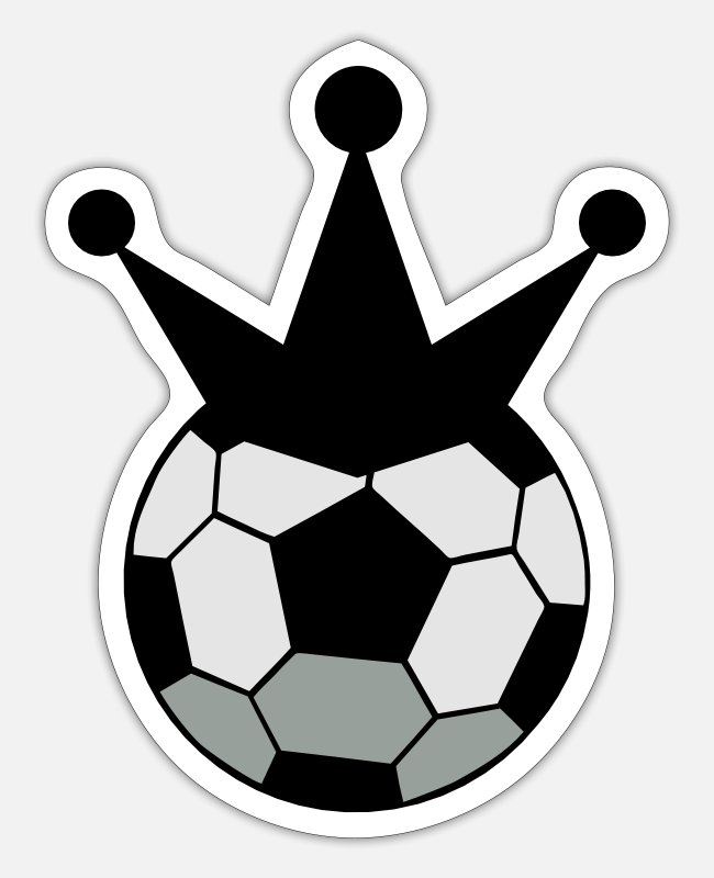 Premier Stickers - soccer ball sports king with crown - Sticker white matte