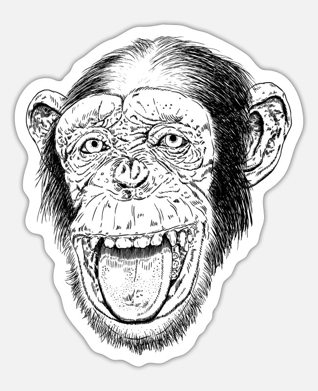 Animal Collection Stickers - Happy Chimp HD Design - Sticker white matte