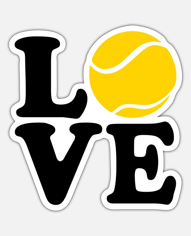 Heart Stickers - Tennis - Sticker white matte