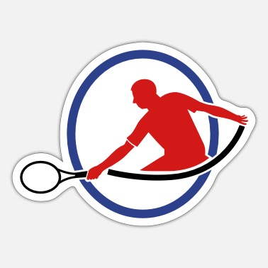 Hits tennis man hitting swing hit - Sticker
