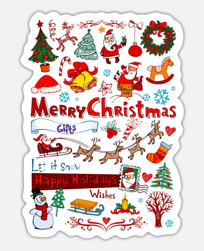 December Stickers - Christmas - Santa - December - Sticker white matte