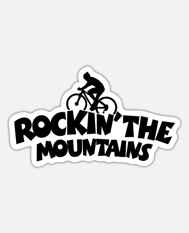 Mountains Stickers - Rockin' the Mountains Mountainbiking - Sticker white matte