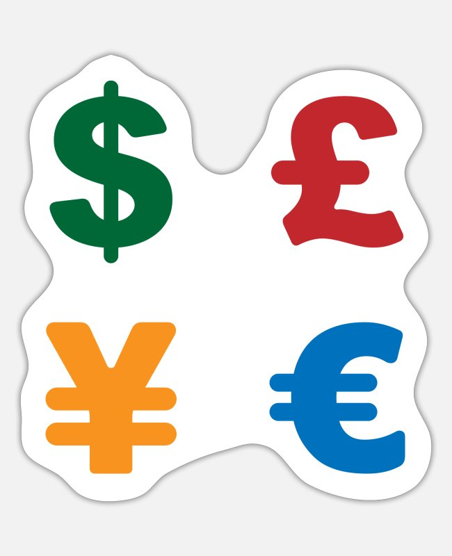 Money Stickers - Dollar, pound, yen, euro | Currency symbol - Sticker white matte