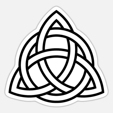Greek Triquetra circle interlaced irish white black - Sticker