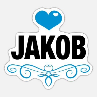 Babygro Jakob, Love, Hearts, Baby, Boys, Birthday, Gifts - Sticker