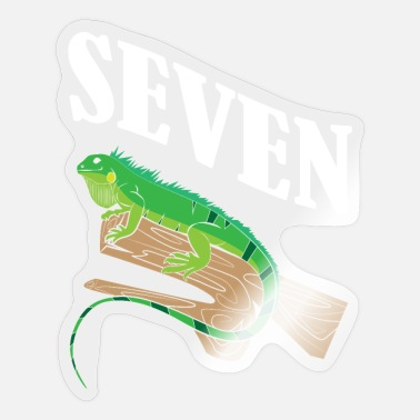 Cake Topper Kids 7 Year Old Lizard Reptile 7th Birthday Party - Sticker