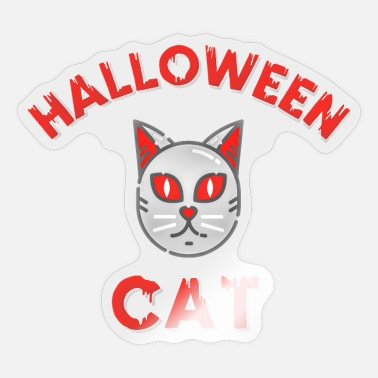 Horrormovie Halloween Cat Cats Creepy gift for kids blackcat - Sticker