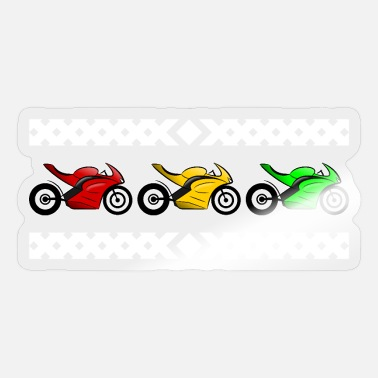 Green White Red Three motorcycles red yellow green white - Sticker