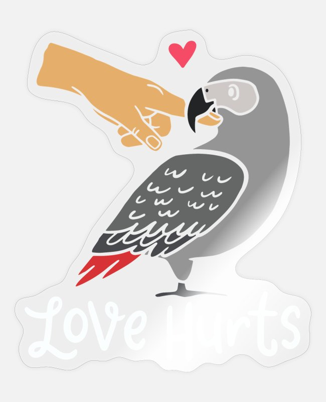 Gray-parrot Stickers - Love Hurts, African Grey Parrot, African Grey - Sticker transparent glossy