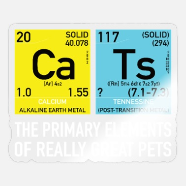 Cat Statement Cats Nerd Periodic Table Elements Statement - Sticker