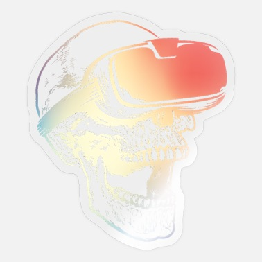 Augmented Colorful Virtual Reality Artificial Gaming Skull - Sticker