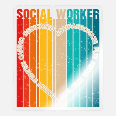 Social Vintage Social Worker Heart Social Work Colorful G - Sticker