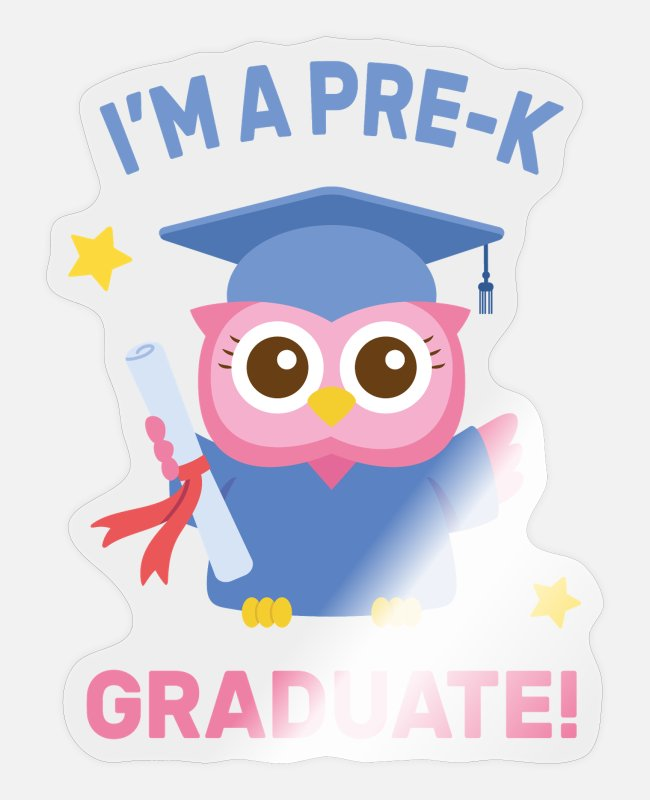 Graduation Stickers - Pre K Graduate, Cute Pink Owl - Sticker transparent glossy