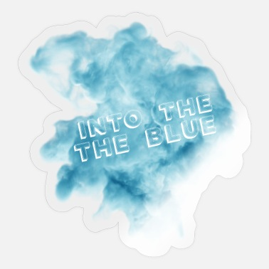 Blue White Into the blue blue smoke with white fonts - Sticker