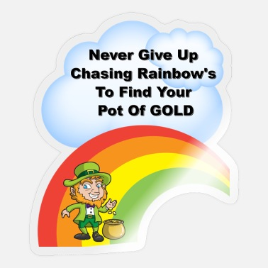 Chasing Rainbows St Patricks Day Gold Rainbow - Sticker