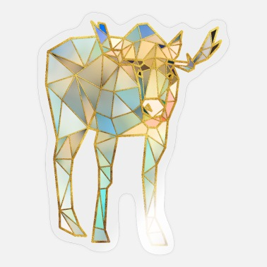 Geometric Moose Geometric Gold Lines 3 - Sticker
