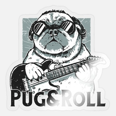 Andes Pug&Roll Design with pug ande-guitar. - Sticker