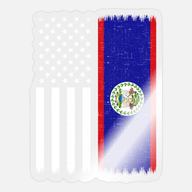 Belize Belize American Flag, Belize - Sticker