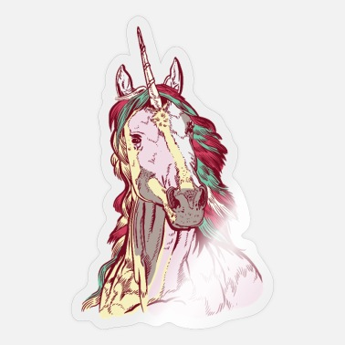 Unicorn Colorful and detailed unicorn with rainbow hair - Sticker