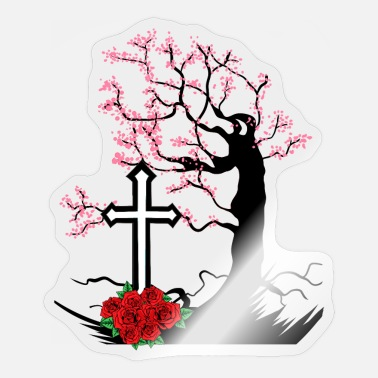 Unhappy Natur red roses Cross Jesus God tears Virus - Sticker