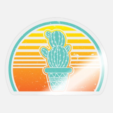 Green Retro Vintage Cactus 80s 90s Sunset Gardening Succ - Sticker