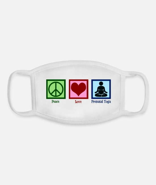 Pregnancy Face Masks - Peace Love Prenatal Yoga - Youth Face Mask white/white
