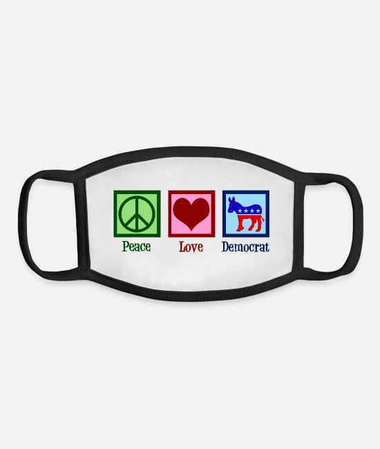 Republicans Face Masks - Peace Love Democrat Donkey - Youth Face Mask white/black