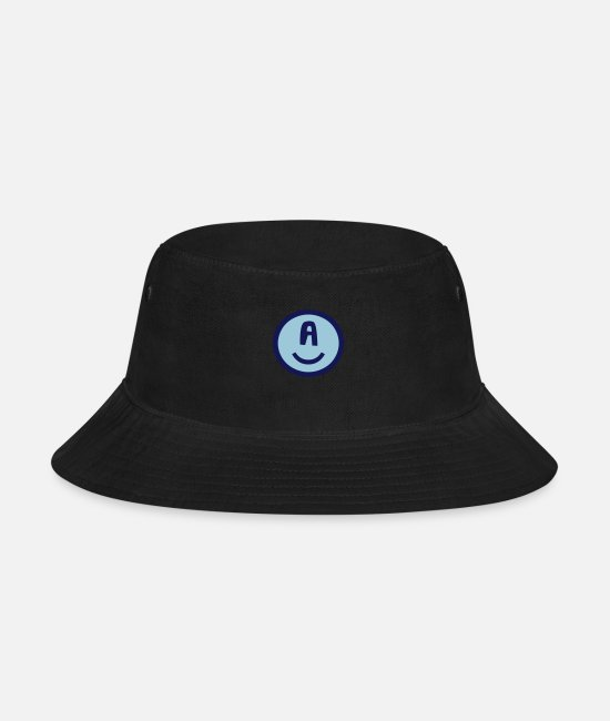 Caps & Hats - ♥☺↷Funny Smiley Alphabet Initial Letter-A↶☺♥ - Bucket Hat black