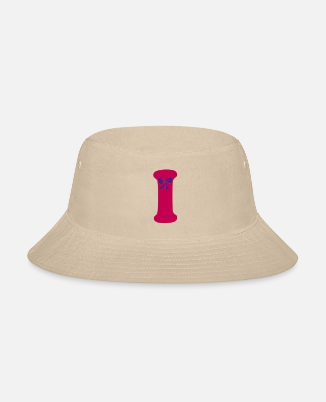 Adhd Caps & Hats - ❤✔Alphabet I with a Purple Ribbon✔❤ - Bucket Hat cream