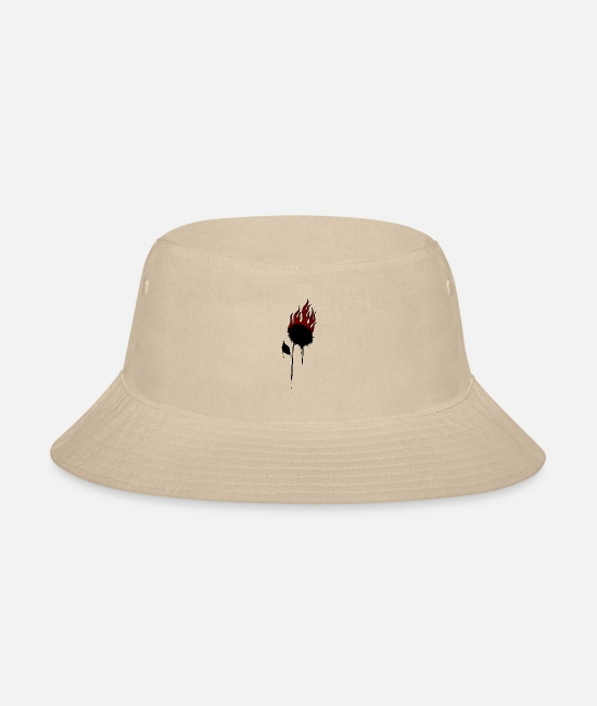 Rap Caps & Hats - Sunflower on fire black and red - Bucket Hat cream