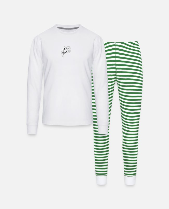 Aesthetic Pajamas - Many faces - Unisex Pajama Set white/green stripe