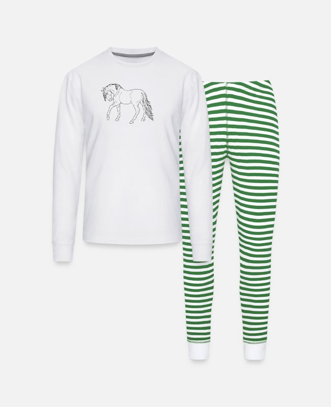Hewan Pajamas - 1 - Unisex Pajama Set white/green stripe