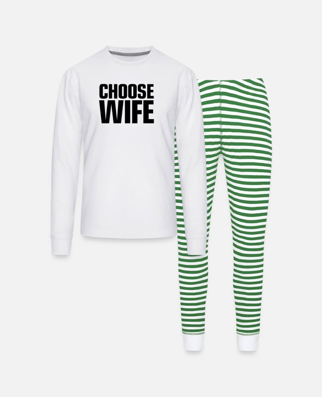 Heart Pajamas - choose_wife - Unisex Pajama Set white/green stripe