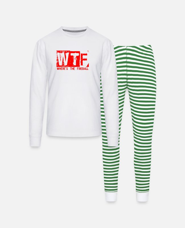 Red Pajamas - WTF WHERE'S THE FIREBALL trendy college frat party - Unisex Pajama Set white/green stripe
