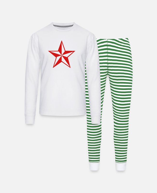 Starry Sky Pajamas - star - Unisex Pajama Set white/green stripe