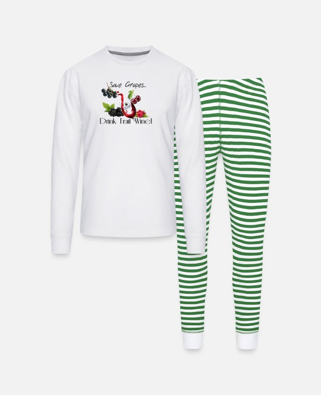 Wine Pajamas - Save Grapes - Drink Fruit Wine! - Unisex Pajama Set white/green stripe