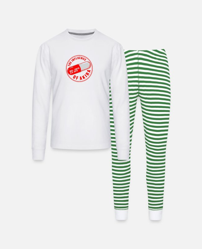 UV Pajamas - THE INFLUENCE OF AKIRA NEO TOKYO - Unisex Pajama Set white/green stripe