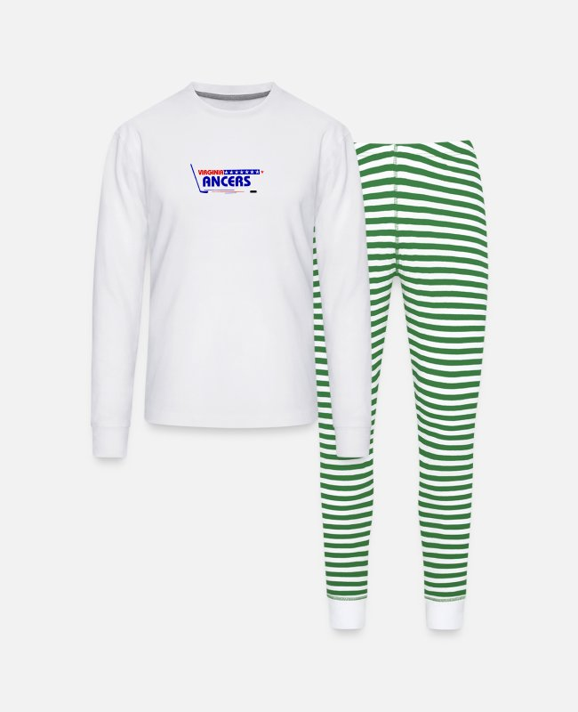 Virginia Beach Pajamas - Virginia Lancers Vintage Hockey Logo - Unisex Pajama Set white/green stripe