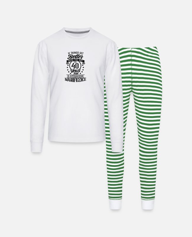 Funny 40th Birthday Pajamas - 40th birthday present for 40th - Unisex Pajama Set white/green stripe