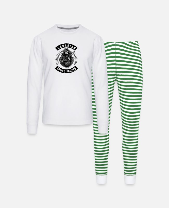 Canadian Soldier Pajamas - Armed Forces Reaper Canadian Military - Unisex Pajama Set white/green stripe