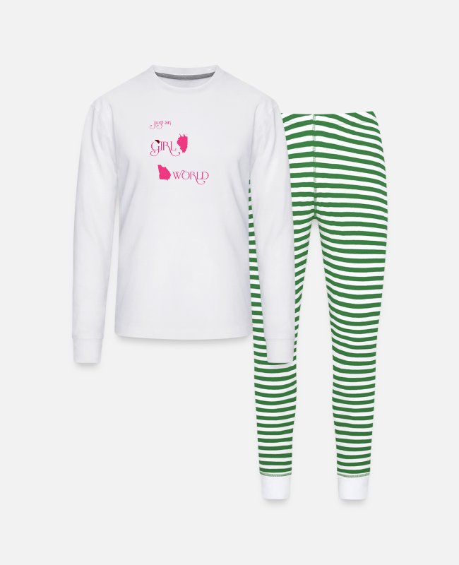 Illinois Flag Pajamas - Illinois girl - She is in a Georgia world t-shirt - Unisex Pajama Set white/green stripe