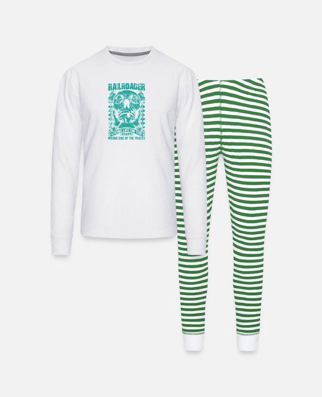 Station Pajamas - Railroader Living life on the wrong side Railroad - Unisex Pajama Set white/green stripe