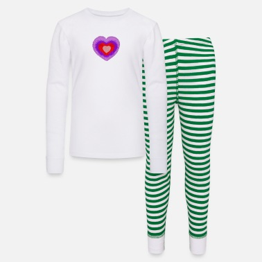 fluffy multi-colored heart - Kids' Pajama Set
