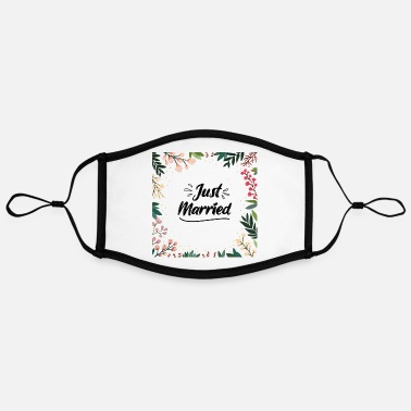 Bride Print Just Married Newly Weds Floral Print Pattern Gift - Adjustable Contrast Face Mask (Large)
